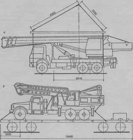 б). Схемы погрузки автомобильного крана КС-4574 на железнодорожную платформу (а) и установки автомобильного крана...