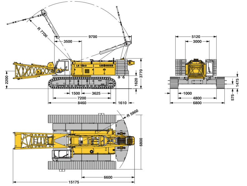 Габаритные размеры Liebherr LR 1160 160 тонн